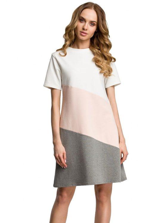 obleka-tunika-bombažna-tribarvna