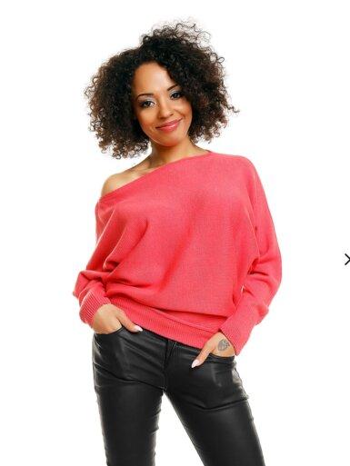 pulover s širokimi rokavi koralna barva