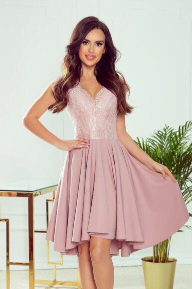 romantična-obleka-zadaj-daljša-svečana-umazano-roza