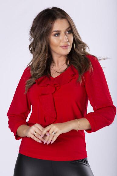 majica-bluza-z-rokavi-pikice-rdeca