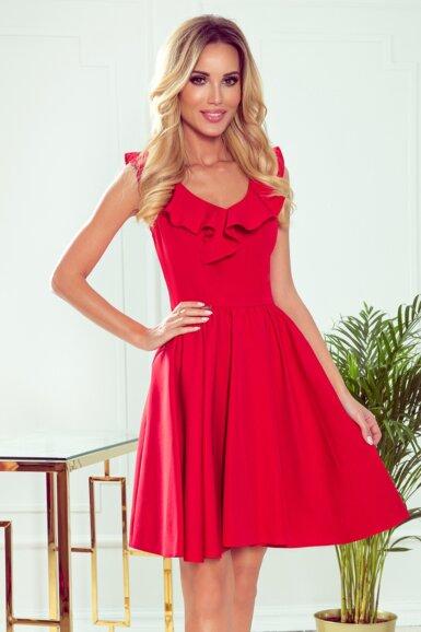 elegantna obleka z volančkom rdeča