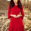 obleka-v-a-kroju-s-plise-dodatki-rdeča