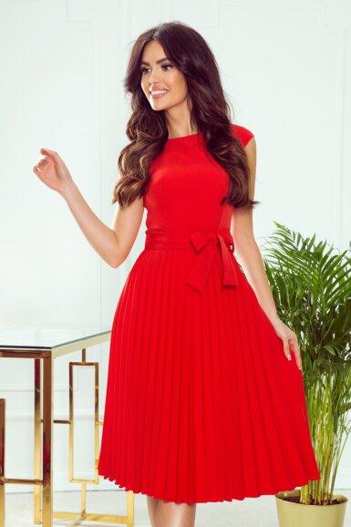 obleka-kratki-rokav-plisirana-rdeca