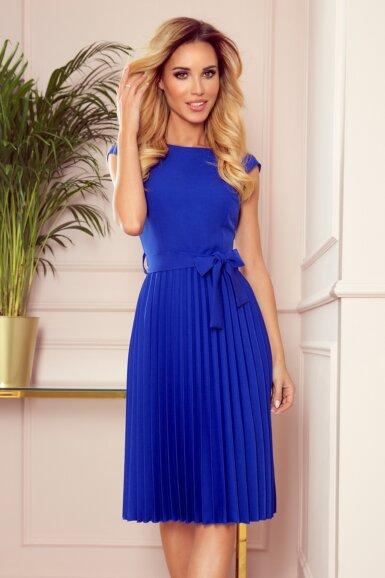 obleka-kratki-rokav-plisirana-parisko-modra