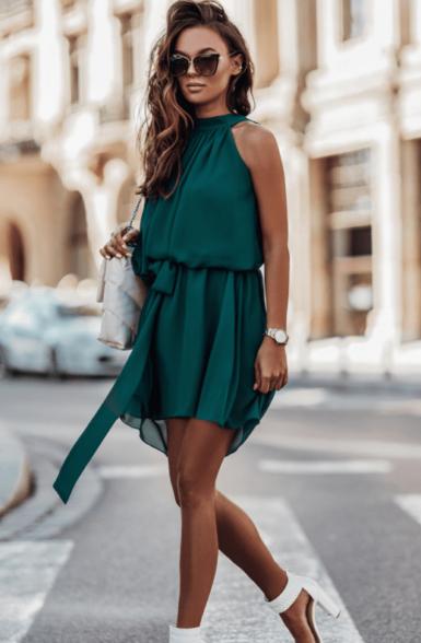 lahka-obleka-temno-zelena