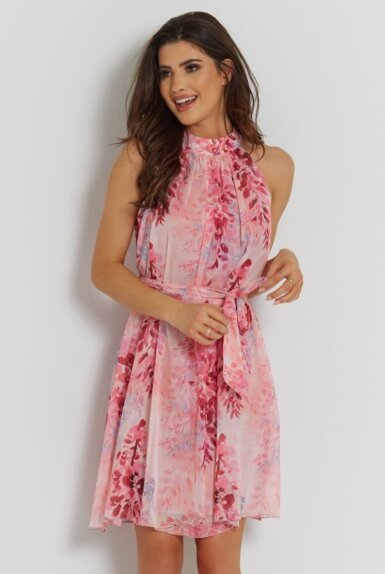 lahka-obleka-roza-cvetlični-vzorček