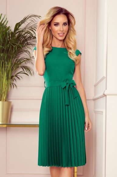 obleka-kratki-rokav-plisirana-zelena