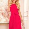 obleka-kratki-rokav-plisirana-pink