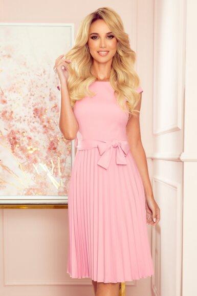 obleka-kratki-rokav-plisirana-roza