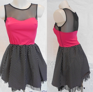 mini-obleka-pink-crna-s-pikicami-ugodna-cena