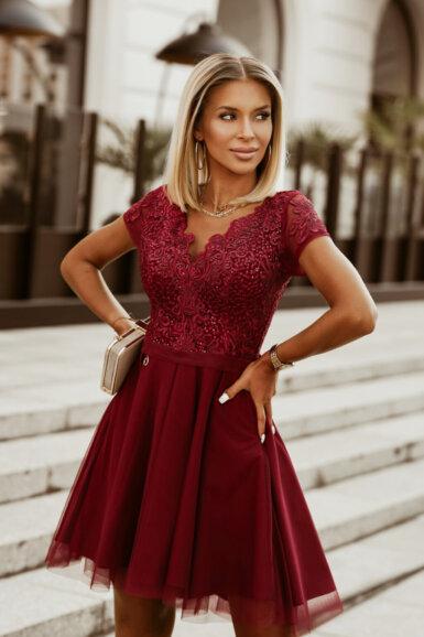 svečana-obleka-za-poroko-birmo-bordo-rdeča