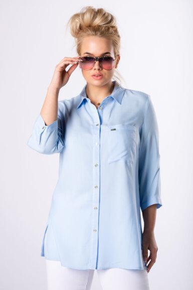 bluza-tunika-svetlo-modra-bombažna-večje-velikosti