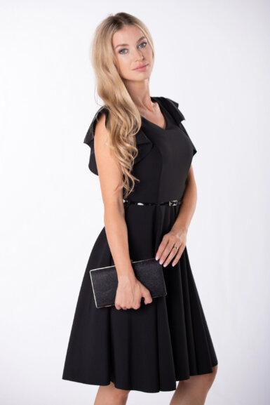 coctail-obleka-z-nabranimi-rokavi-črna
