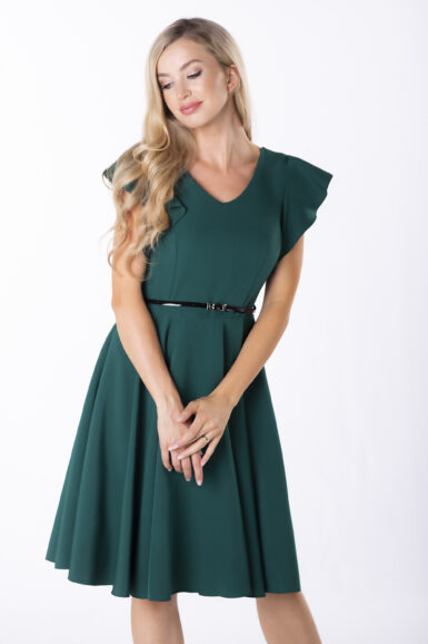 coctail-obleka-z-nabranimi-rokavi-smaragdna