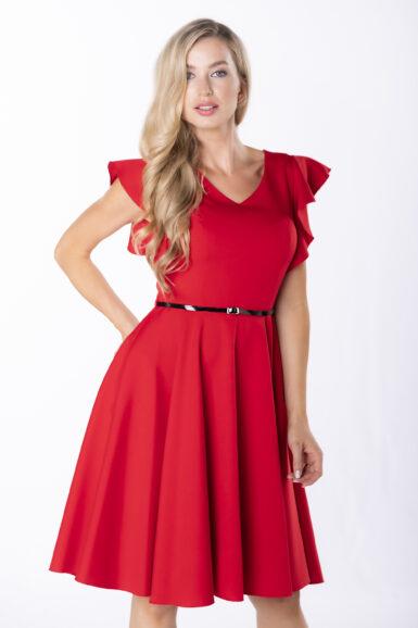 coctail-obleka-z-nabranimi-rokavi-rdeča