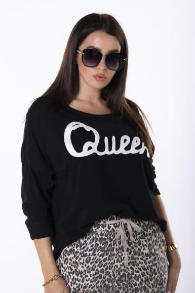bombažni pulover z napisom