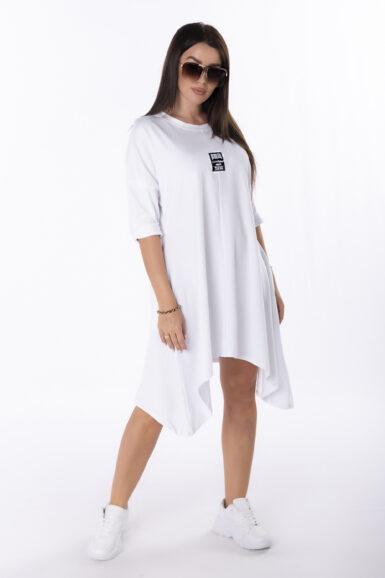 tunika-obleka-bombažna-bela