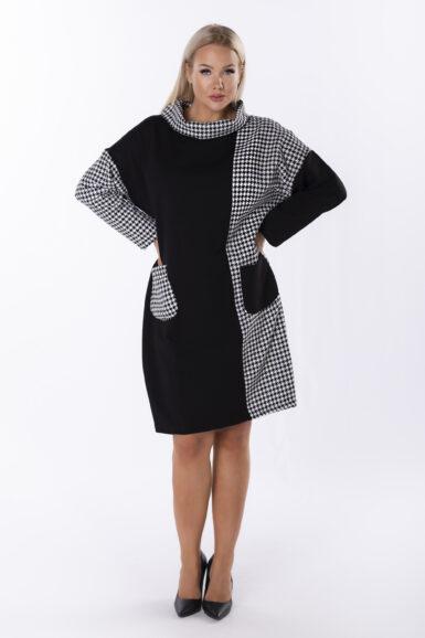tunika-obleka-bombažna-črno-bela-pepita