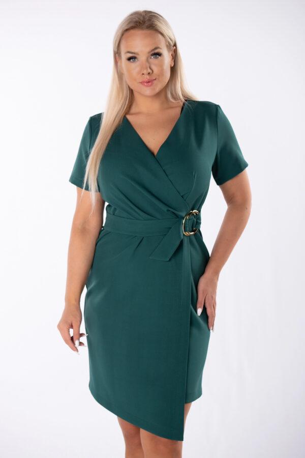 elegantna-obleka-z-asimetricnim-spodnjim-robom-smaragdno -zelena