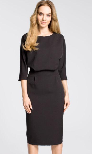midi-obleka-z-ohlapnim-zgornjim-delom-črna