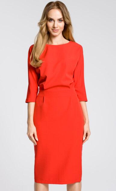 midi-obleka-z-ohlapnim-zgornjim-delom-rdeča