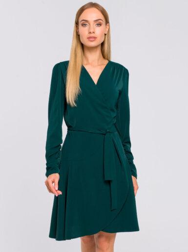 obleka-z-izgledom-na-preklop-temno-zelena
