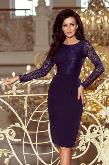 elegantna-obleka-dolgi-rokav-midi-dolžina-modra