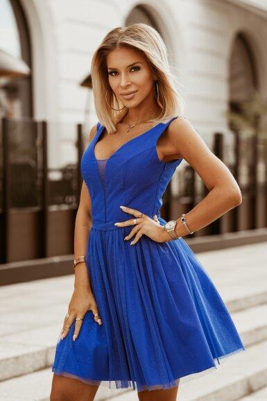 svečana-sijoča-kratka-obleka-pariško-modra