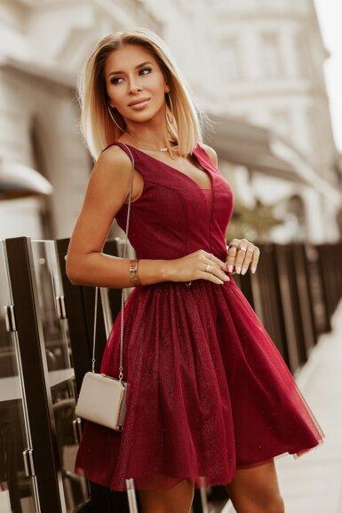 svečana-sijoča-kratka-obleka-bordo-rdeča