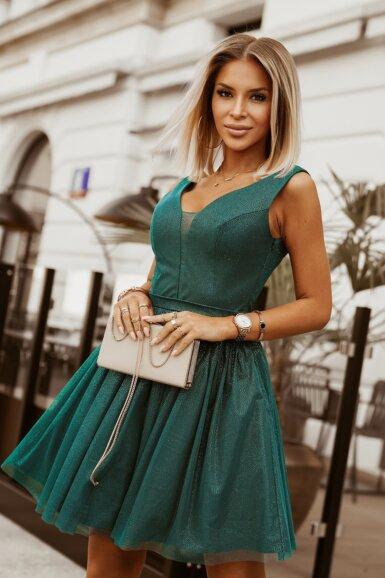 svečana-sijoča-kratka-obleka-zelena