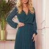 elegantna-obleka-dolgi-rokav-plisirana-zelena