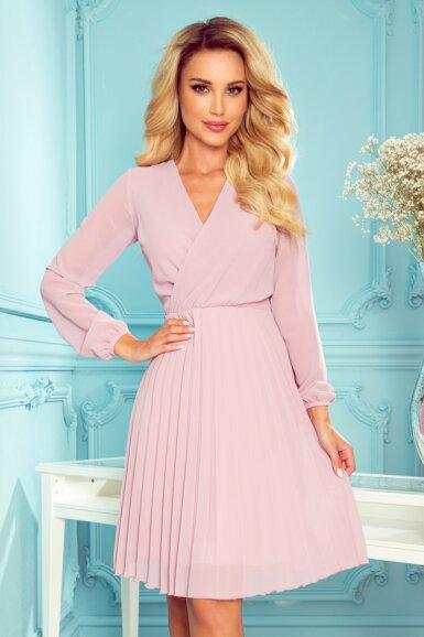 elegantna-obleka-dolgi-rokav-plisirana-roza