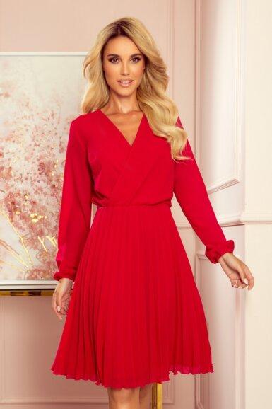 elegantna-obleka-dolgi-rokav-plisirana-rdeča