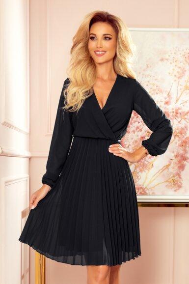 elegantna-obleka-dolgi-rokav-plisirana-črna