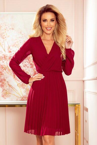 elegantna-obleka-dolgi-rokav-plisirana-bordo-rdeča