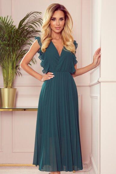 elegantna-obleka-dolga-plisirana-zelena