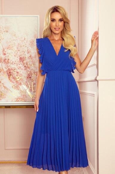 elegantna-obleka-dolga-plisirana-pariško-modra