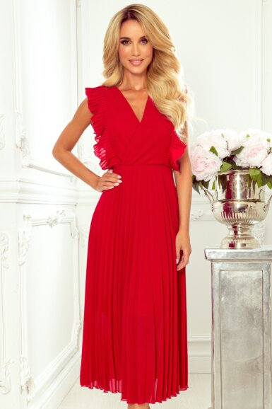 elegantna-obleka-dolga-plisirana-rdeča