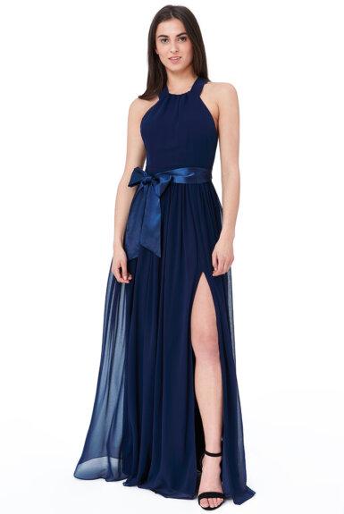 dolga-elegantna-šifon-obleka-svečana-temno-modra