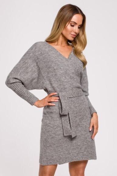 pletena-obleka-s-pasom-krajša-svetlo-siva