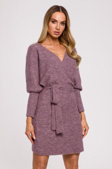pletena-obleka-s-pasom-krajša-vijolična