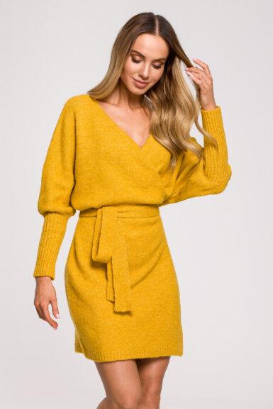 pletena-obleka-s-pasom-krajša-rumena