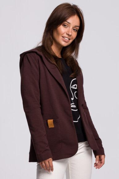 jakna v kroju blazerja s kapuco rjava