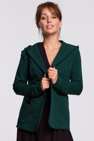 jakna v kroju blazerja s kapuco zelena