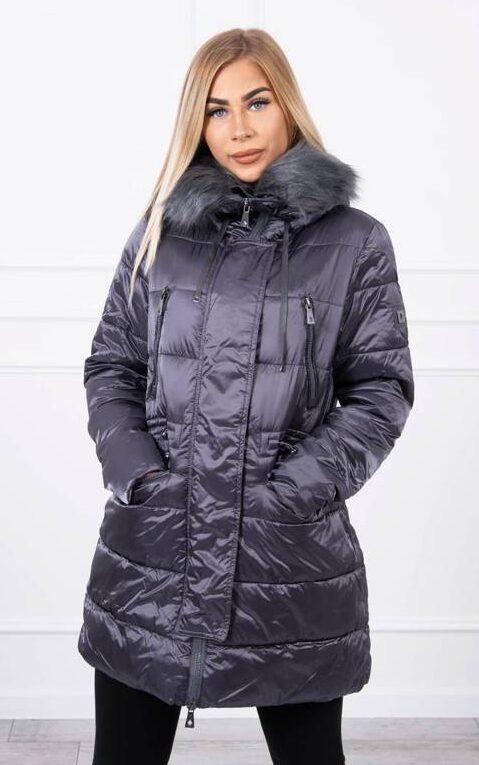 zimska-daljša-jakna-plašč-siva-s-kapuco-in-odstranljivim-krznom