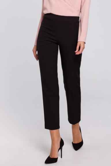 hlače-elegantne-ozke-črne-s-srebrnim-pasom