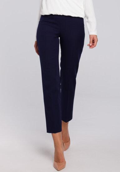 hlače-elegantne-ozke-temno-modre s srebrnim pasom