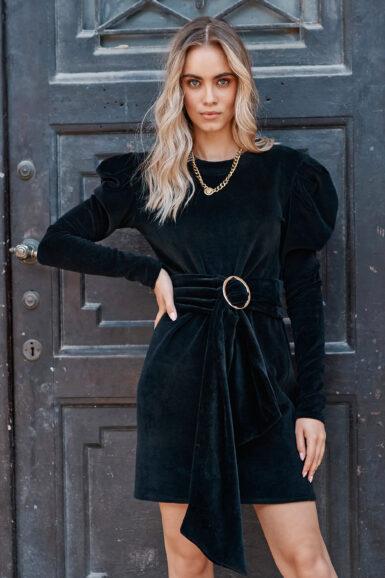 obleka-bombažni-pliš-nabrana-rokava-črna