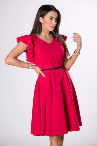 coctail-obleka-z-nabranimi-rokavi-malinasto-rdeča
