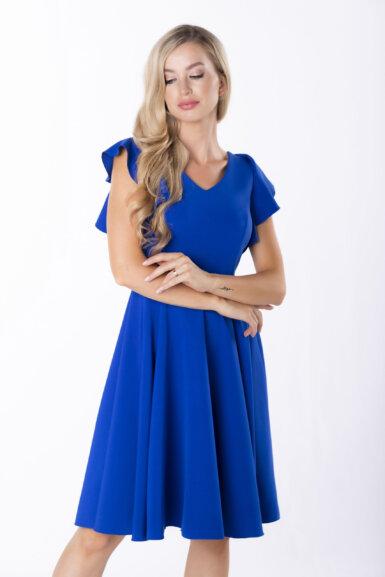 coctail-obleka-z-nabranimi-rokavi-pariško-modra